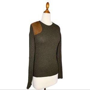 Ralph Lauren Sport Green Suede Patch Sweater S